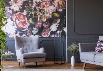 floral wallpaper living room